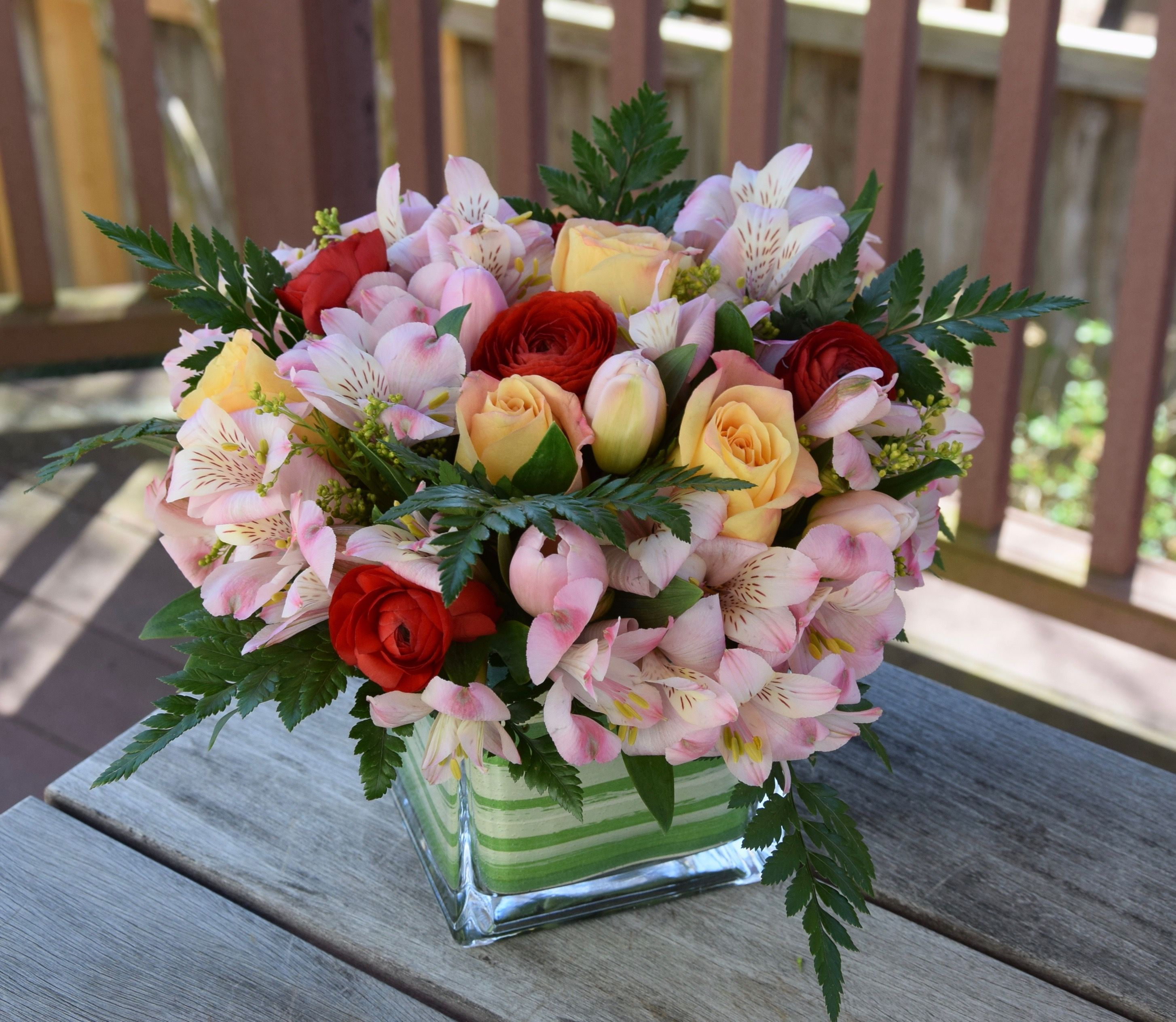 Flower Arrangement With Pink Alstroemerias Red Ranunculus And Creamy Roses In 2020 Fresh Flowers Arrangements Flower Arrangements Birthday Flowers For Her