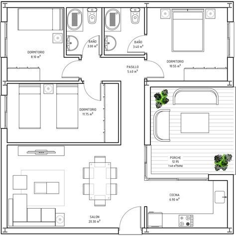 How Big Is 60 Square Meters Google Search Square House Plans Square House Floor Plans Home Design Floor Plans
