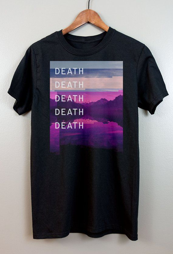 Vaporwave ShortSleeve T Shirt   Cyberpunk Aesthetic clothing Glitch art Soft grunge Pastel goth 90s Retro Tumblr   Death Death Death Death is part of Soft Aesthetic Clothes - Printed with DTG printers on a soft fashionfit unisex tee  The shirt is slightly fitted and made from thick heavier cotton, but it's still soft  Comfy as a coffin and the double stitching on the neckline and sleeves add durability  Also, you won't be naked  • 100% cotton jersey knit • Preshrunk • More contouring than a classic tshirt Shirt pictured is a Medium  This shirt will ship in 37 business days  Delivery time will depend on your location  Items are made to order and therefore cannot be returned, so doublecheck the sizing guide to make sure you get the right fit  Contact me if you have any questions  Size guide                         S      M      L      XL      2XL     3XL Length (inches)        27      28       29       30         31          32 Width (inches)          18      20       22       24         26          28