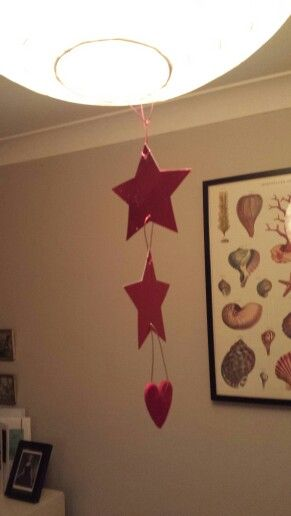 A one minute mobile hanging from my lamp shade.