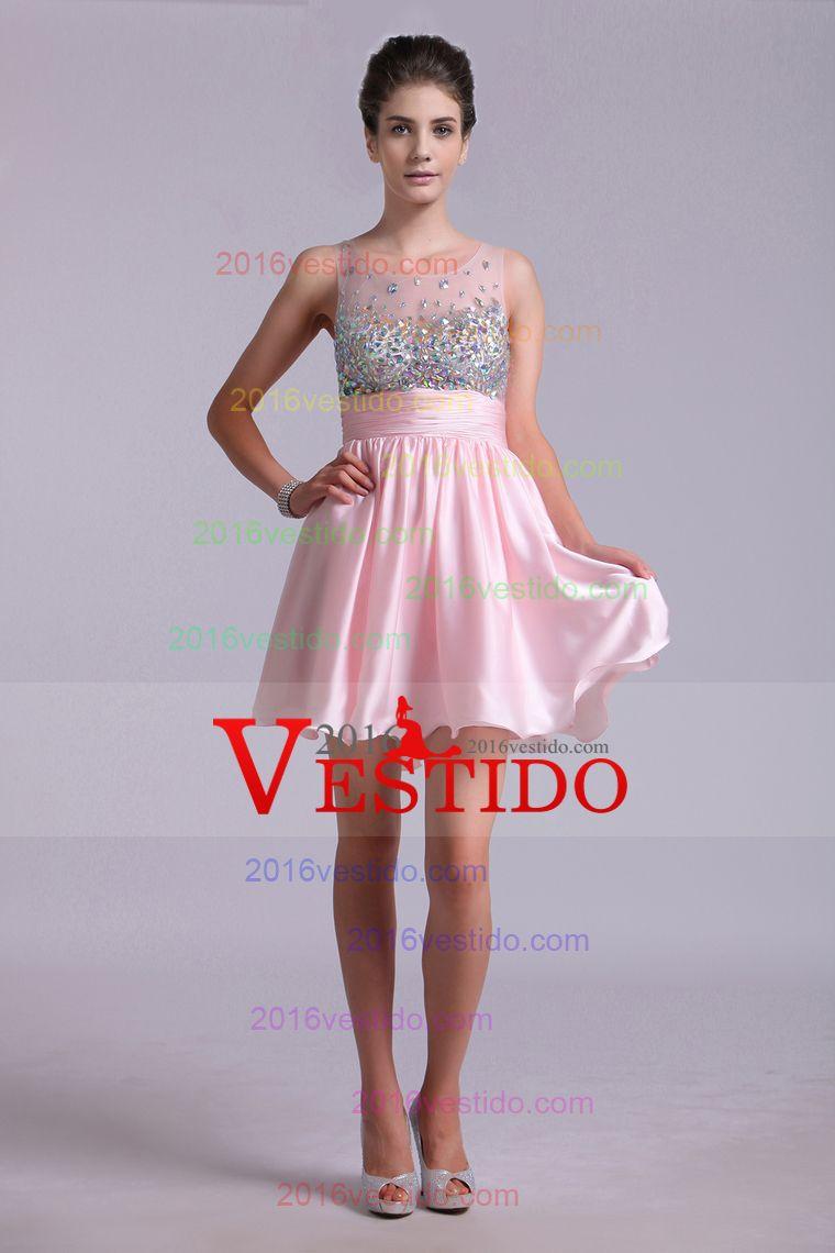 2016 Precioso Vestidos de Fiesta A Line Scoop gasa corto / mini ...