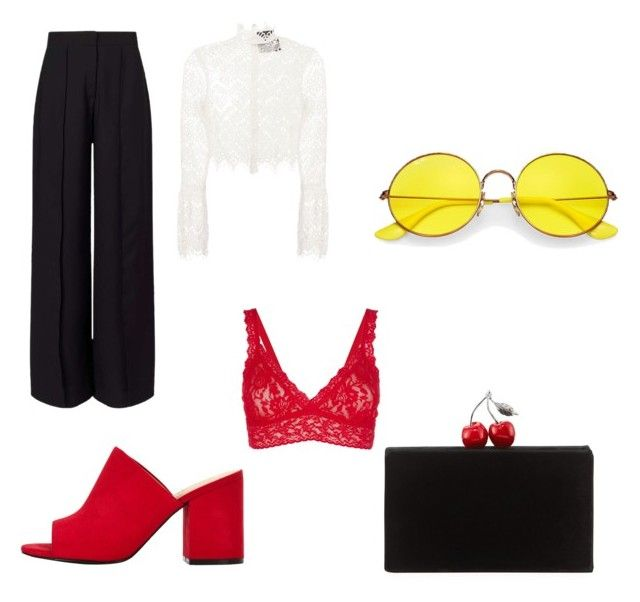 """Color me!"" by noalexno on Polyvore featuring Miss Selfridge, Nicholas, Hanky Panky, Ray-Ban and Edie Parker"