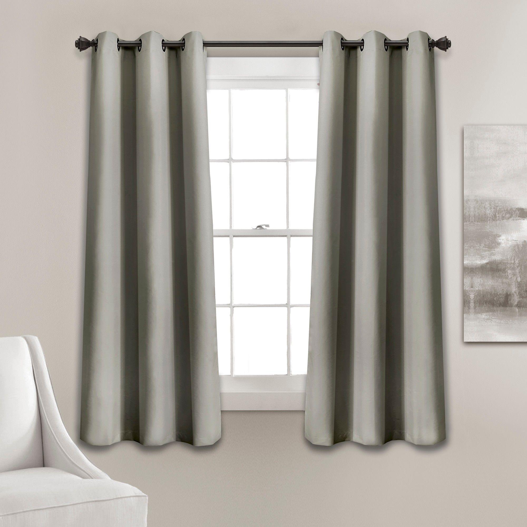 63 X38 Absolute Blackout Window Curtain Panels Dark Gray Lush