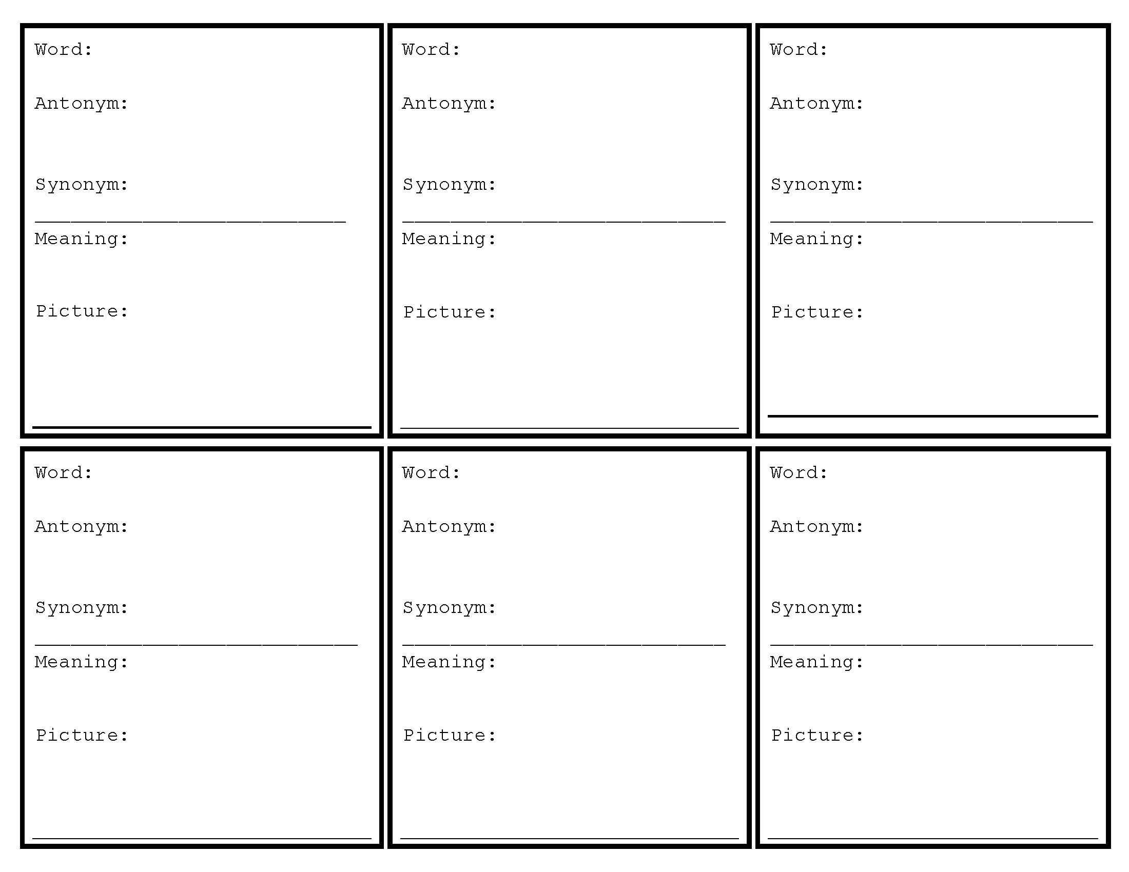 Vocabulary Cards Worksheet