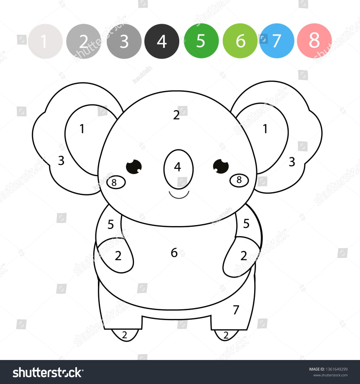 Coloring Page Color By Numbers Picture For Toddlers And