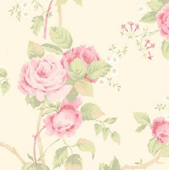 Wallpaper - Vintage Inspired Floral - Pink, Green, Yellow, Shabby ...