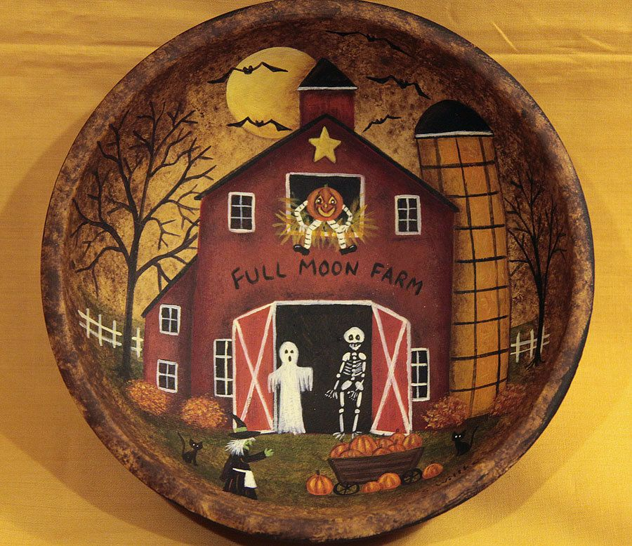 Folk Art Halloween Hand Painted Wood Bowl - MADE TO ORDER - Full Moon - Farm Primitive Red Saltbox Barn Ghost Skeleton Witch Pumpkins Bats by RavensBendFolkArt on Etsy