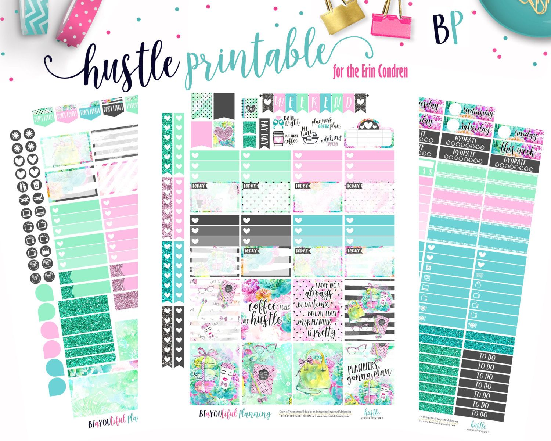 Erin Condren Hustle Weekly Kit Printable Planner