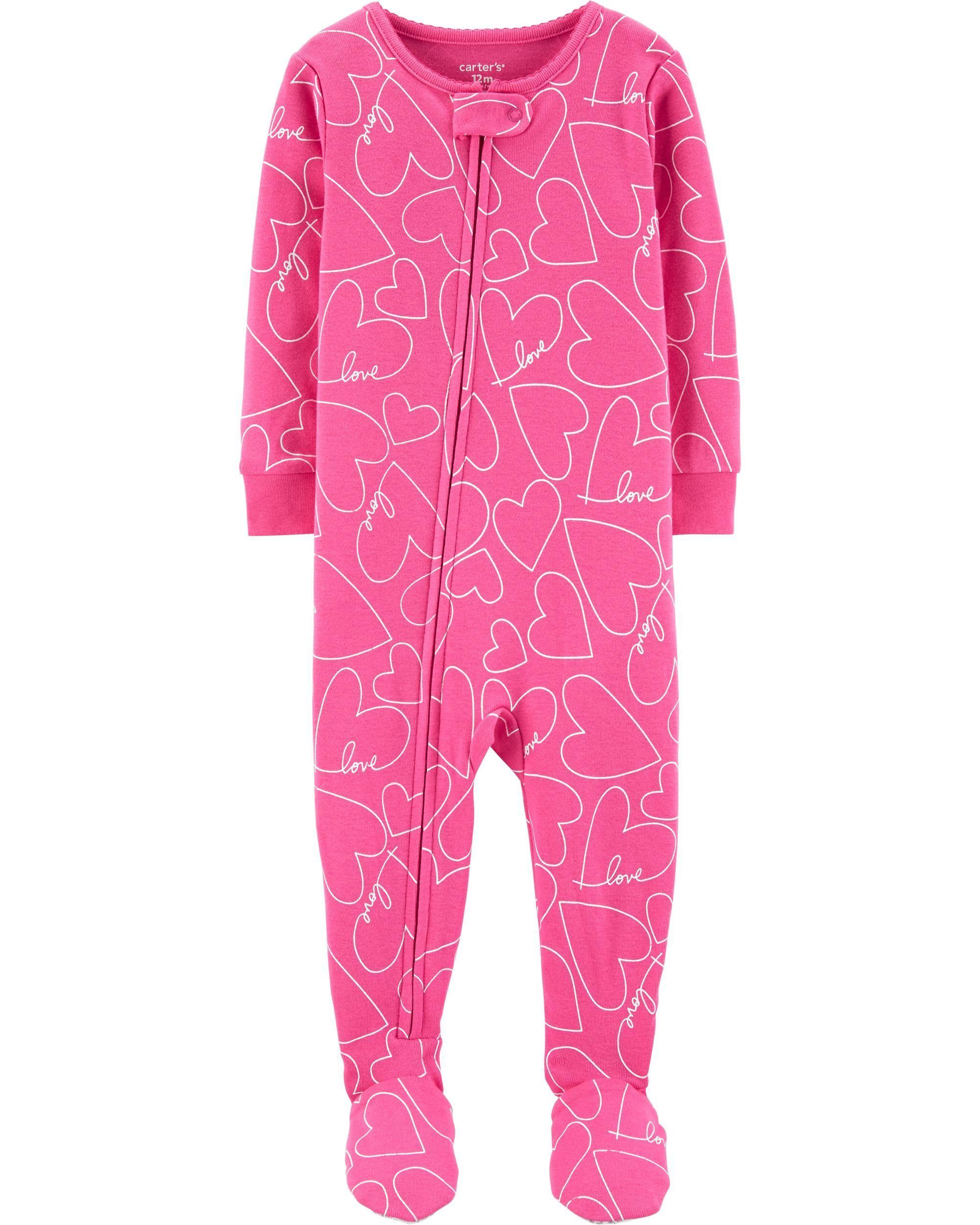 1 Piece Hearts Snug Fit Cotton Footie Pjs Kids Girls