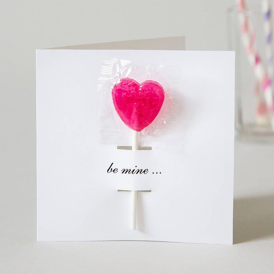 Personalised Valentines Card With Lollipop  Cards