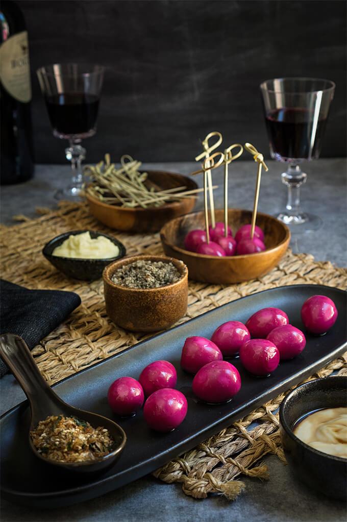 Pickled quail eggs {horseradish mayo + furikake} - Viktoria's Table