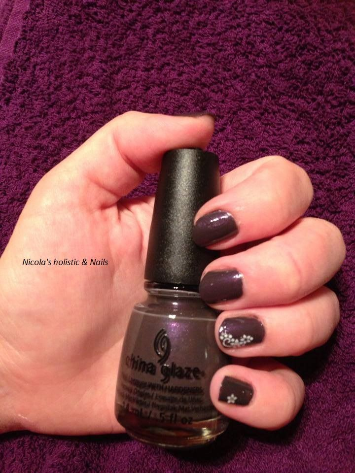 one of my favourite China Glaze colours.  Nail art sticker on ring finger and little finger