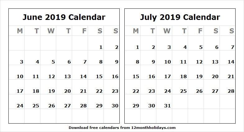 2019 Calendar June And July Fillable June 2019 Calendar