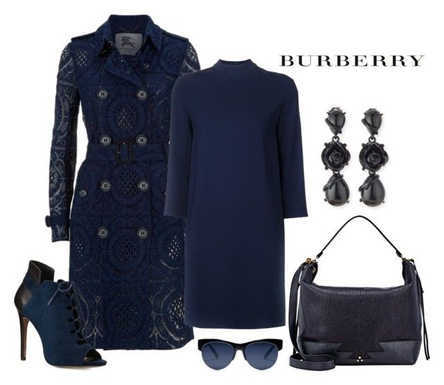 """Burberry Lace Trench Coat"" by romaboots-1 ❤ liked on Polyvore featuring Burberry, The Row, Jérôme Dreyfuss, Oscar de la Renta and Pour La Victoire"