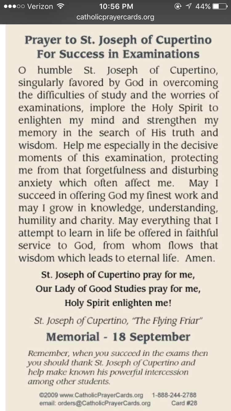 prayer to st joseph of cupertino to pass tests & exams http://www
