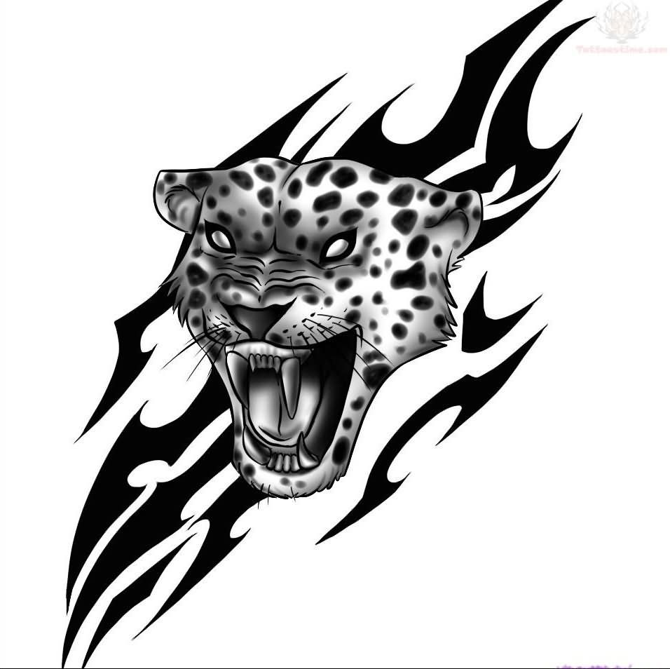 Extremely Angry Jaguar Head And Tribal Design Tattoo Stencil Jaguar Tattoo Tribal Elephant Drawings