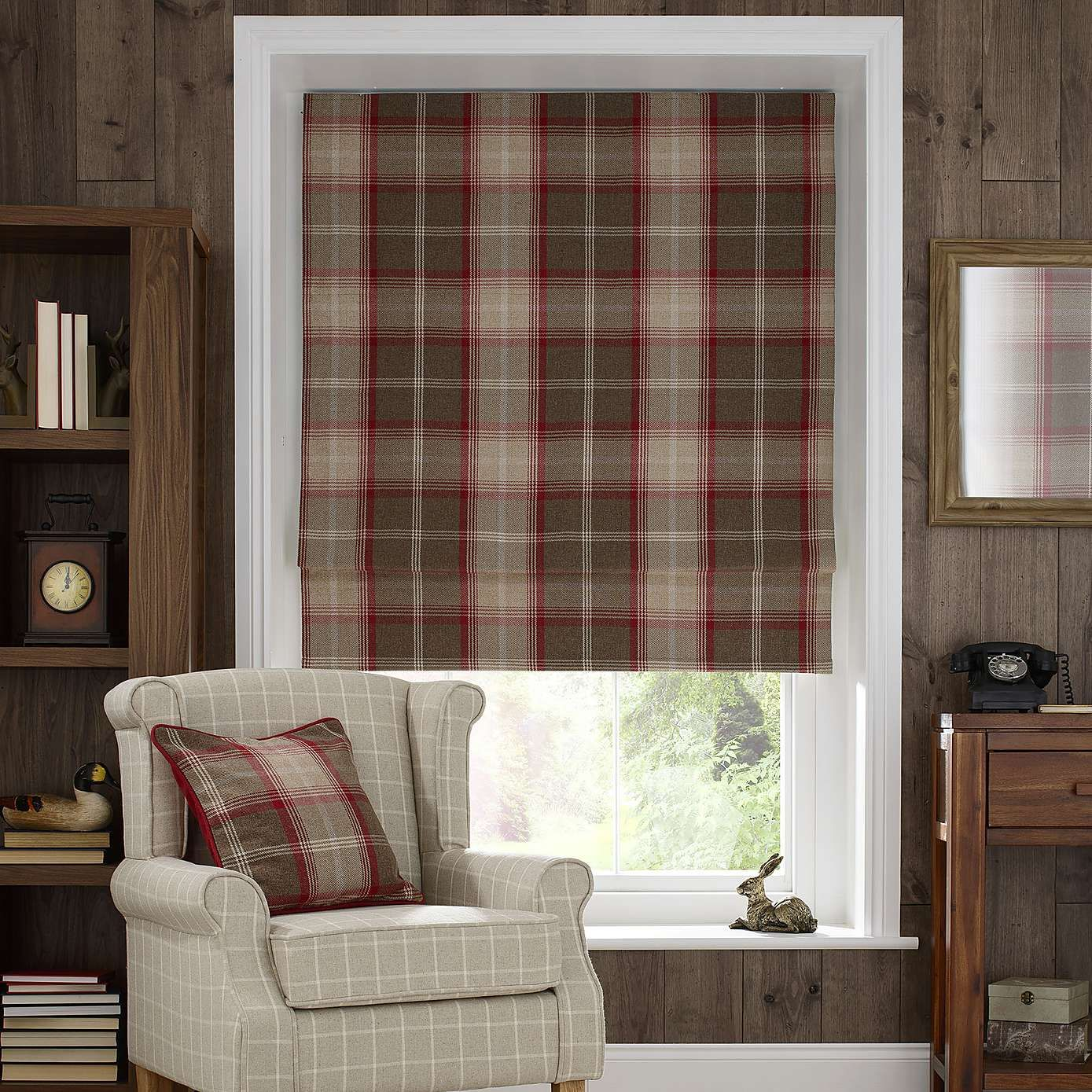 Plaid Curtains For Living Room Red Highland Check Blackout Roman Blind Dunelm Living Room
