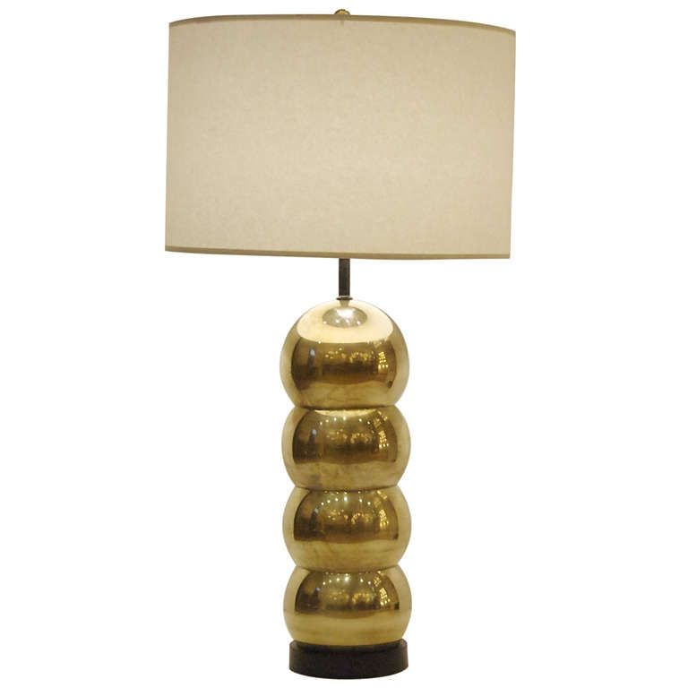 Kovacs Style Stacked Brass Orb Table Lamp 1stdibs Com Table Lamp Lamp Vintage Table Lamp