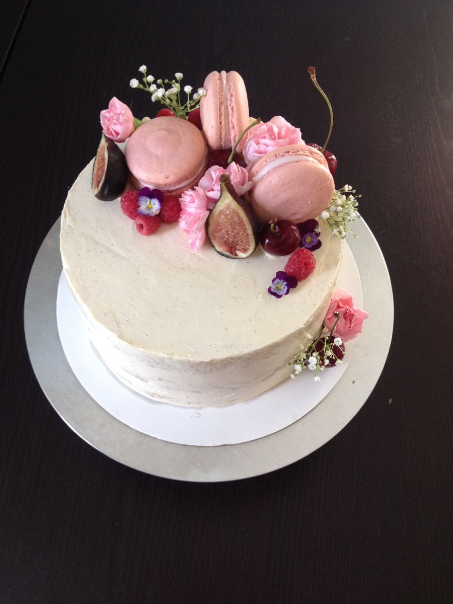 shabby chic bridal shower cakes%0A ChampagneRoseRaspberry Cake with fresh fruit  flowers  and french  macarons