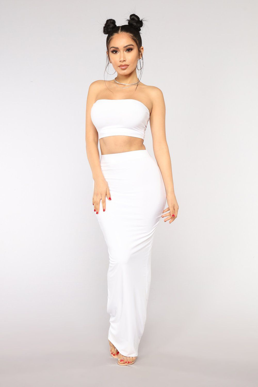 7b86420ab1 Des Skirt Set - White in 2019 | FASHION NOVA HAUL | Fashion, Fashion ...