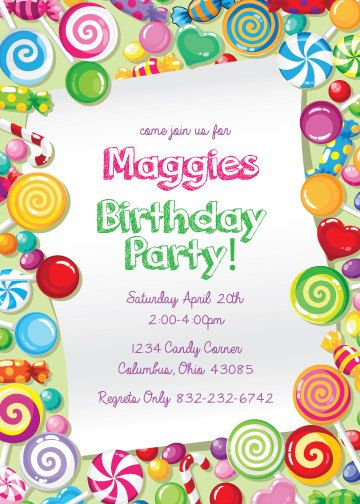 CANDY CANDY Party Themed Invitation size 3 sizes by PaperPartyCo