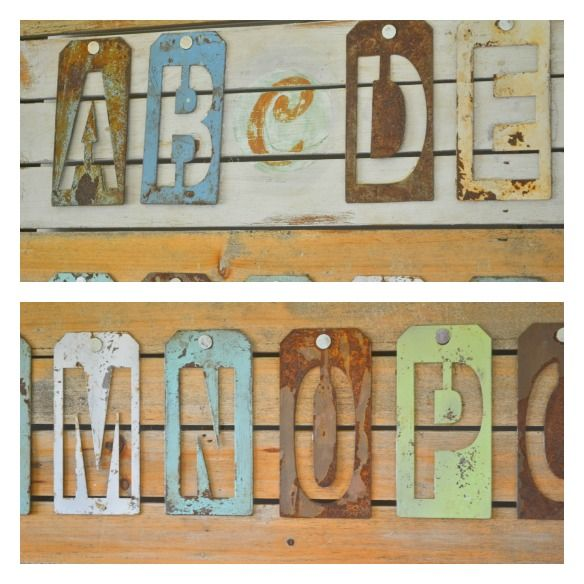 Metal letter stencil aged and rusted wall art- Wish Michael's still