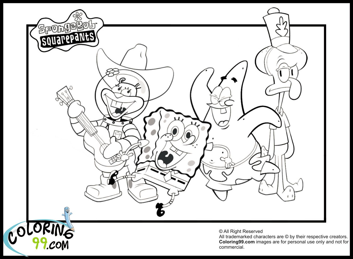 Spongebob Coloring Pages Printable 1500x1100