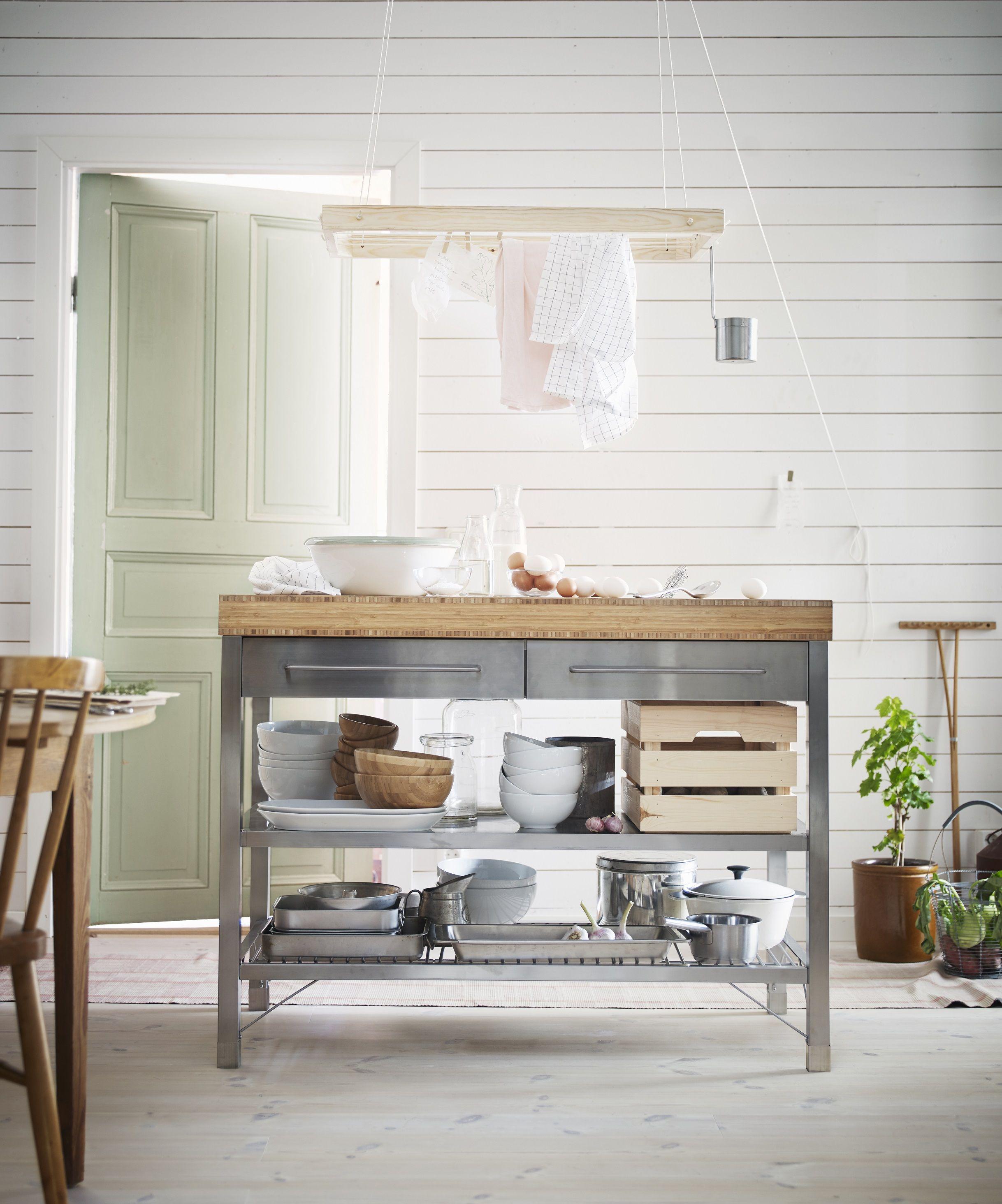 RIMFORSA werkbank | #nieuw #IKEA #IKEAnl #bamboe #roestvrijstaal #keuken #koken #snijden