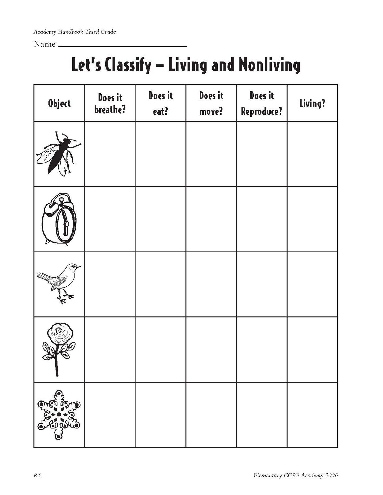 worksheet Living Vs Nonliving Worksheet characteristics of living things made cells obtain and use energy grow develop reproduce respond