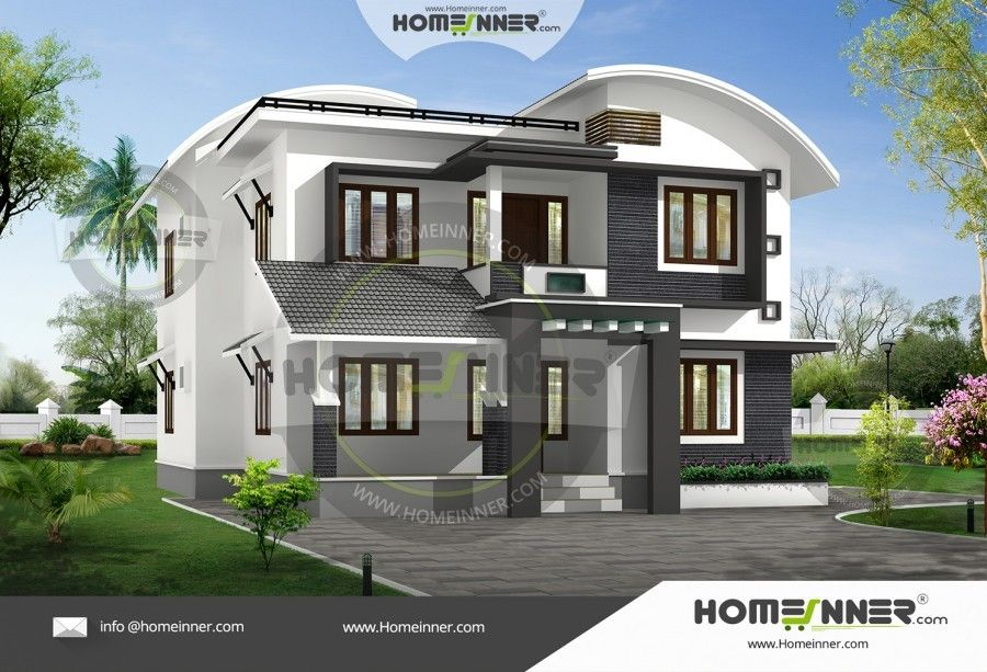 2300 Sq Ft 4 Bedroom Two Story House Plan Kerala House Design Duplex House Design Free House Plans
