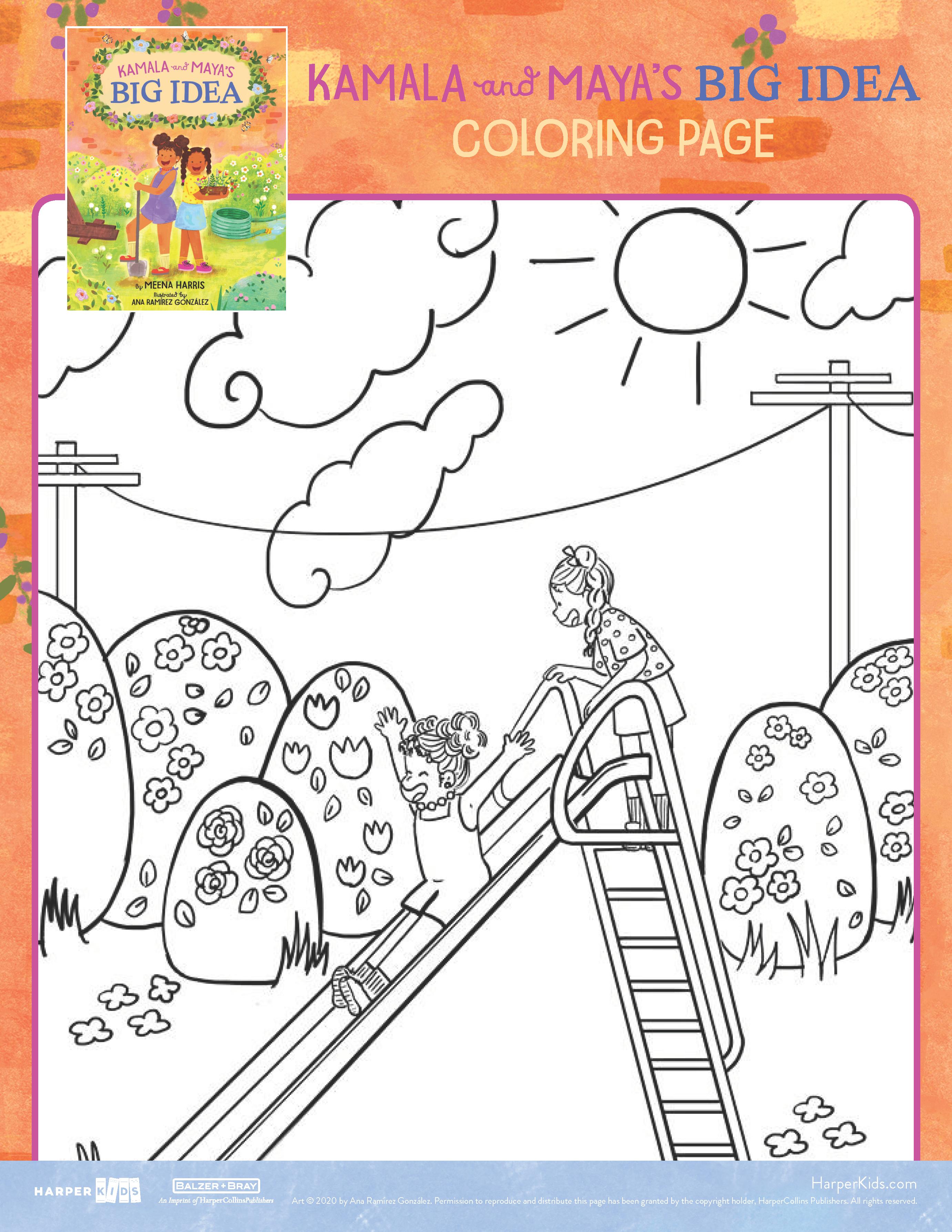 Coloring Page From Kamala And Maya S Big Idea Big Ideas Learning Diy Activities Printable Activities