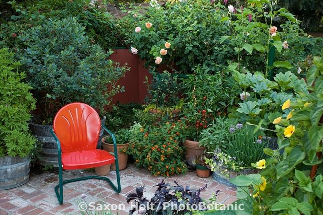 I have two vintage chairs like this one and I never thought of painting them in bright colors (thinking bright yellow and perhaps bright pink) and using them in the midst of the garden!