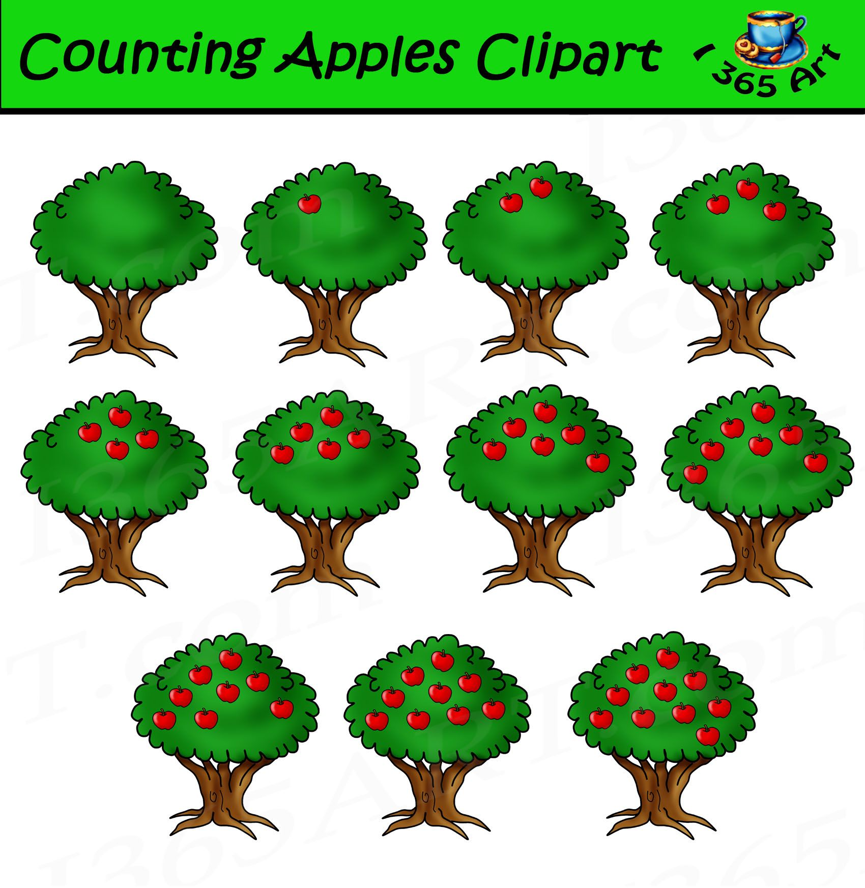 Counting Clipart Apples Set For Commercial Use