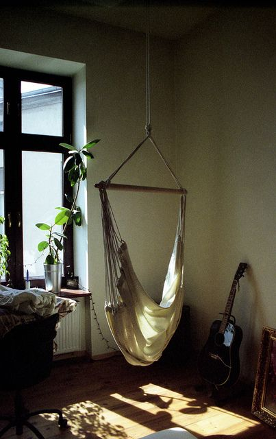 Hammock in the living room dwell pinterest living for Living room hammock