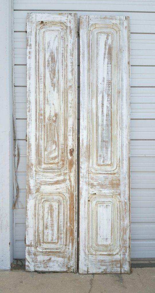 Pair Of 3 Panel White Wash Wood Doors Old Wood Doors Wood Doors Interior Antique French Doors
