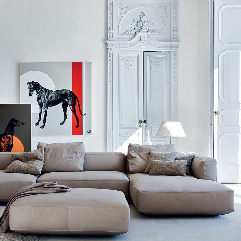 Monobloc and modular sofas, pouf. Graphite painted steel ...