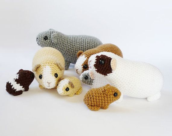 Guinea Pig Toy Knitting Pattern : Crocheted guinea pig babies by LunasCrafts on Etsy #crochet CROCHET & K...