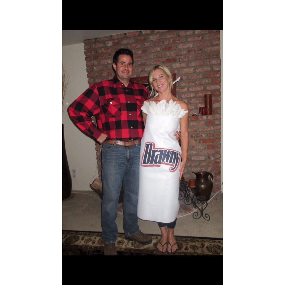 Cheap and easy Halloween costume! Brawny Man and Brawny paper towels.  sc 1 st  Pinterest & Cheap and easy Halloween costume! Brawny Man and Brawny paper towels ...
