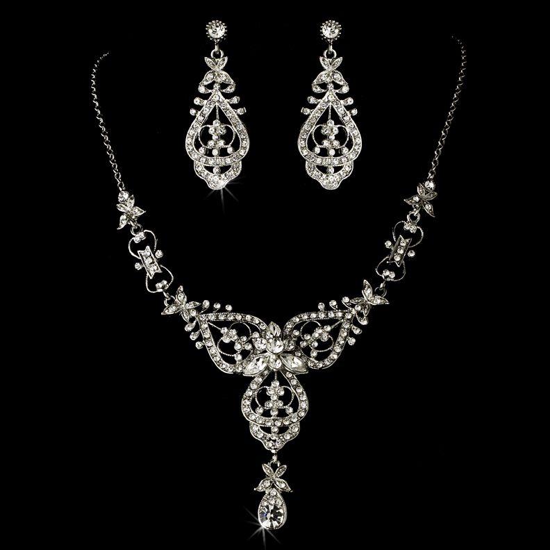 Vintage Inspired Wedding Headband and Jewelry Set | Silver wedding ...
