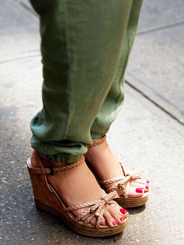 Prada wedges with olive green trousers