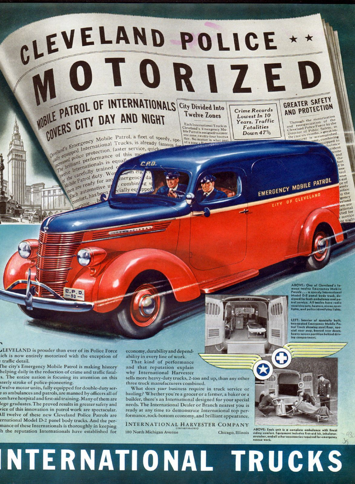 1939 International Truck Ad Cleveland Police Now Entirely Motorized ...