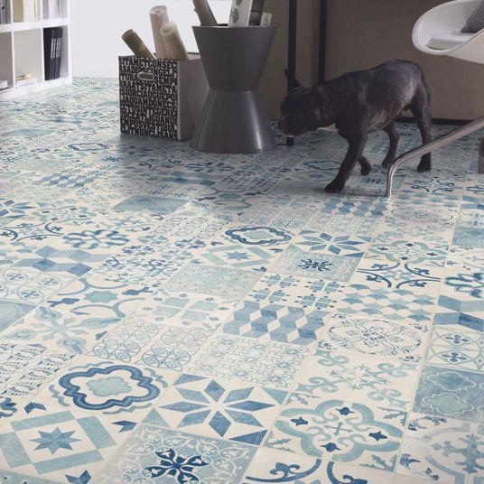 Sol pvc lino imitation carreaux de ciment bleu larg 2m tendance carreau de ciment - Sol pvc imitation carreaux de ciment ...