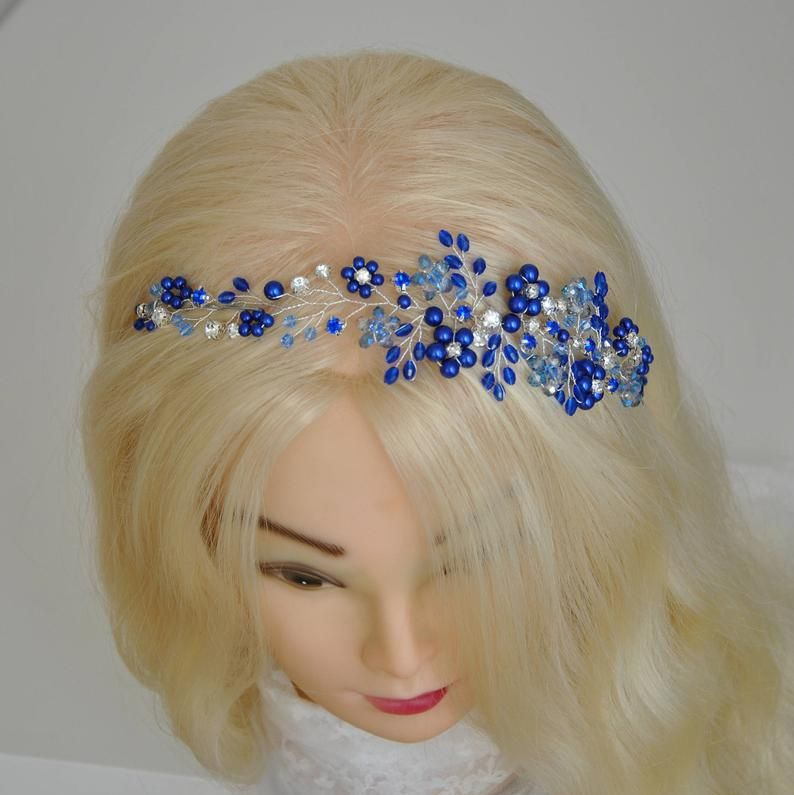Winter wedding headpiece Blue opal hair piece Bridal crystal hair accessories Pearl hair comb Something blue for bride Silver hair brooch