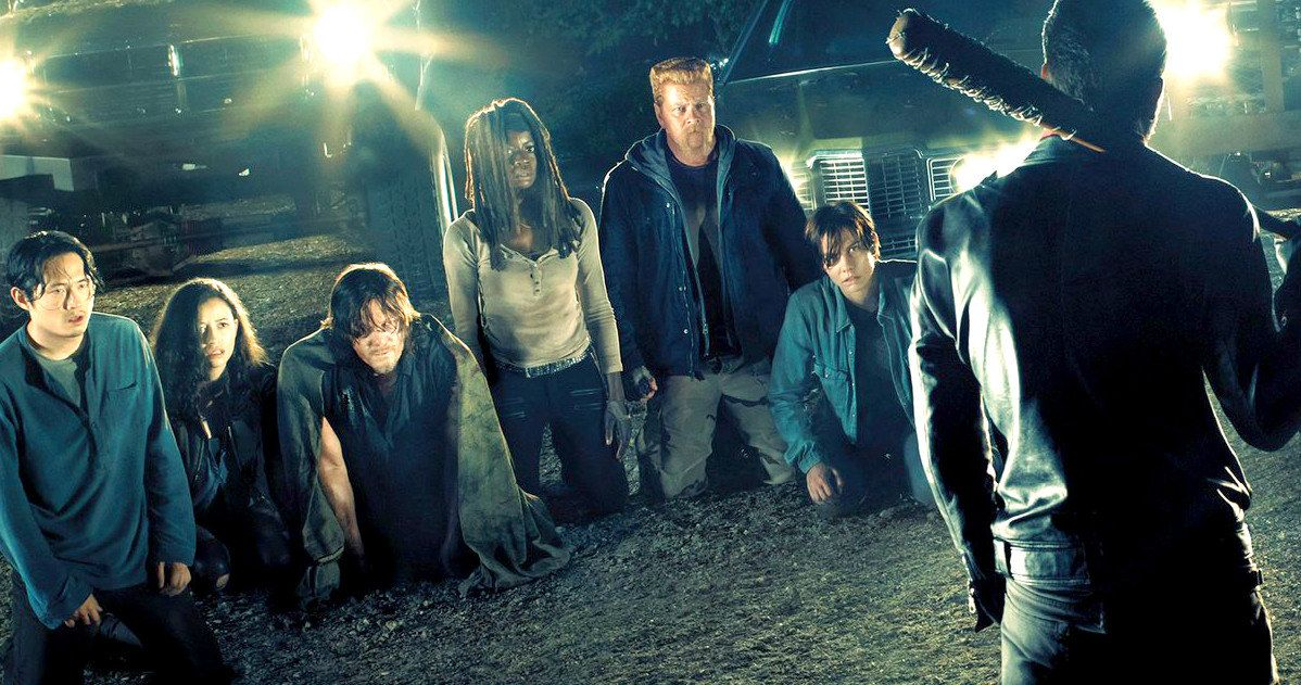 Walking Dead Season 7 Poster Lines Up Negan's Victims -- The first Walking Dead Season 7 trailer will hit on July 22 during Comic-Con. -- http://tvweb.com/walking-dead-season-7-premiere-poster-negan/