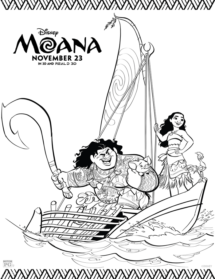 Moana Coloring Sheets Free Printables From The New Disney Movie Moana With Maui Heihei And Pua Ch Disney Coloring Pages Moana Coloring Moana Coloring Pages
