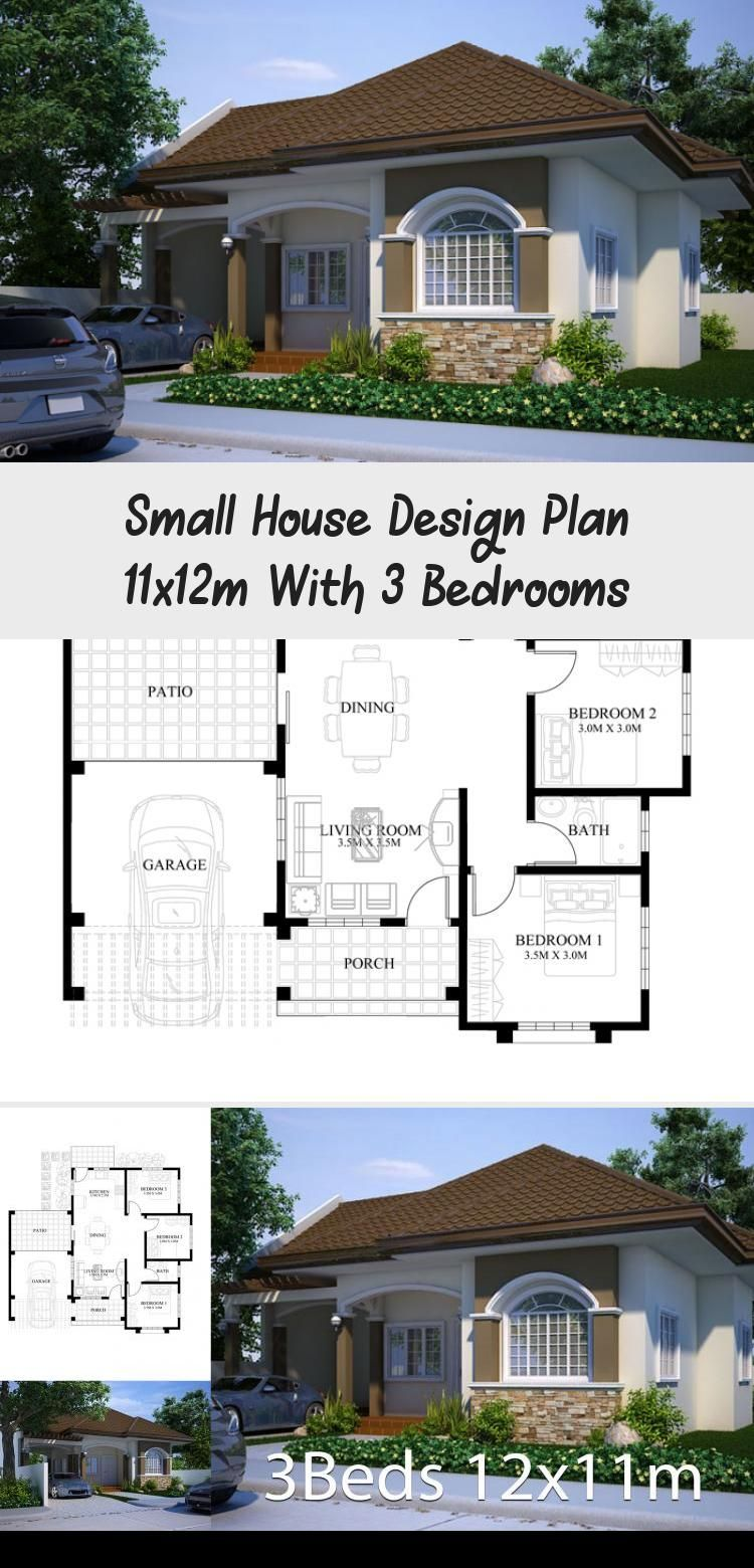 Small House Design Plan 11x12m With 3 Bedrooms Home Ideassearch Smallhouseplanswithpool Bestsmallhou Small House Design Plans Home Design Plans Small House
