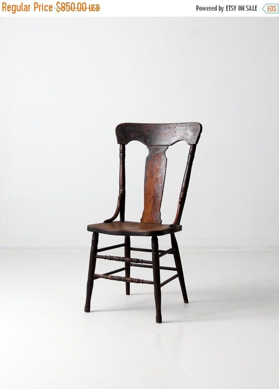 Antique Fiddleback Chair 1900s Wood