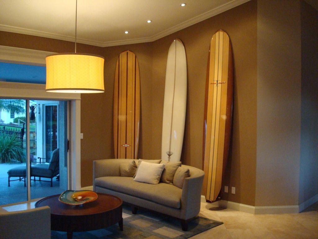 Surfboard bathroom decor - Sustainable Wooden Surfboard Storage Hawaiian Gun Rack