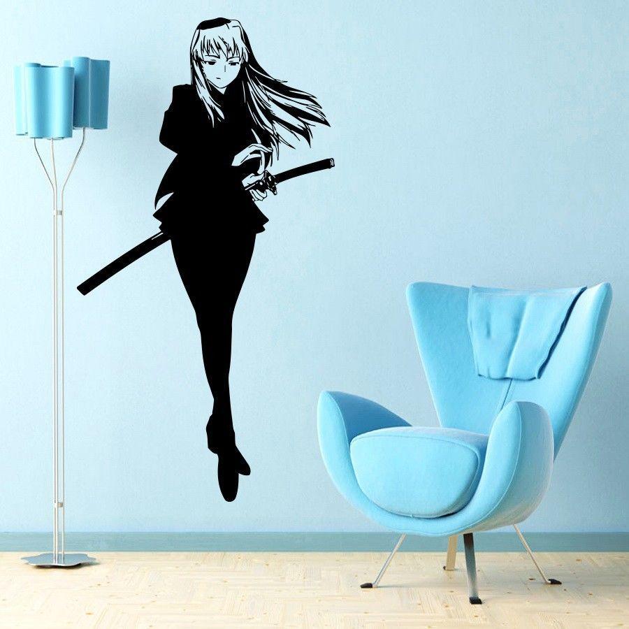 Wall viinyl sticker decal art mural anime manga bold girl for Appliqu mural autocollant