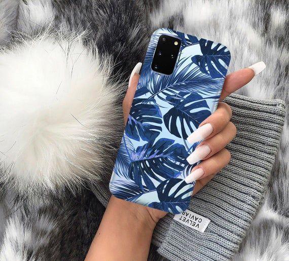 Blue leaves floral foliage case Samsung M31 case S20 Plus | Etsy
